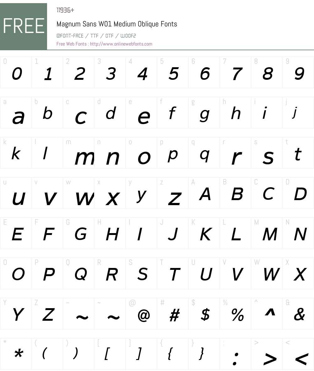 MagnumSansW01-MediumOblique Font Screenshots
