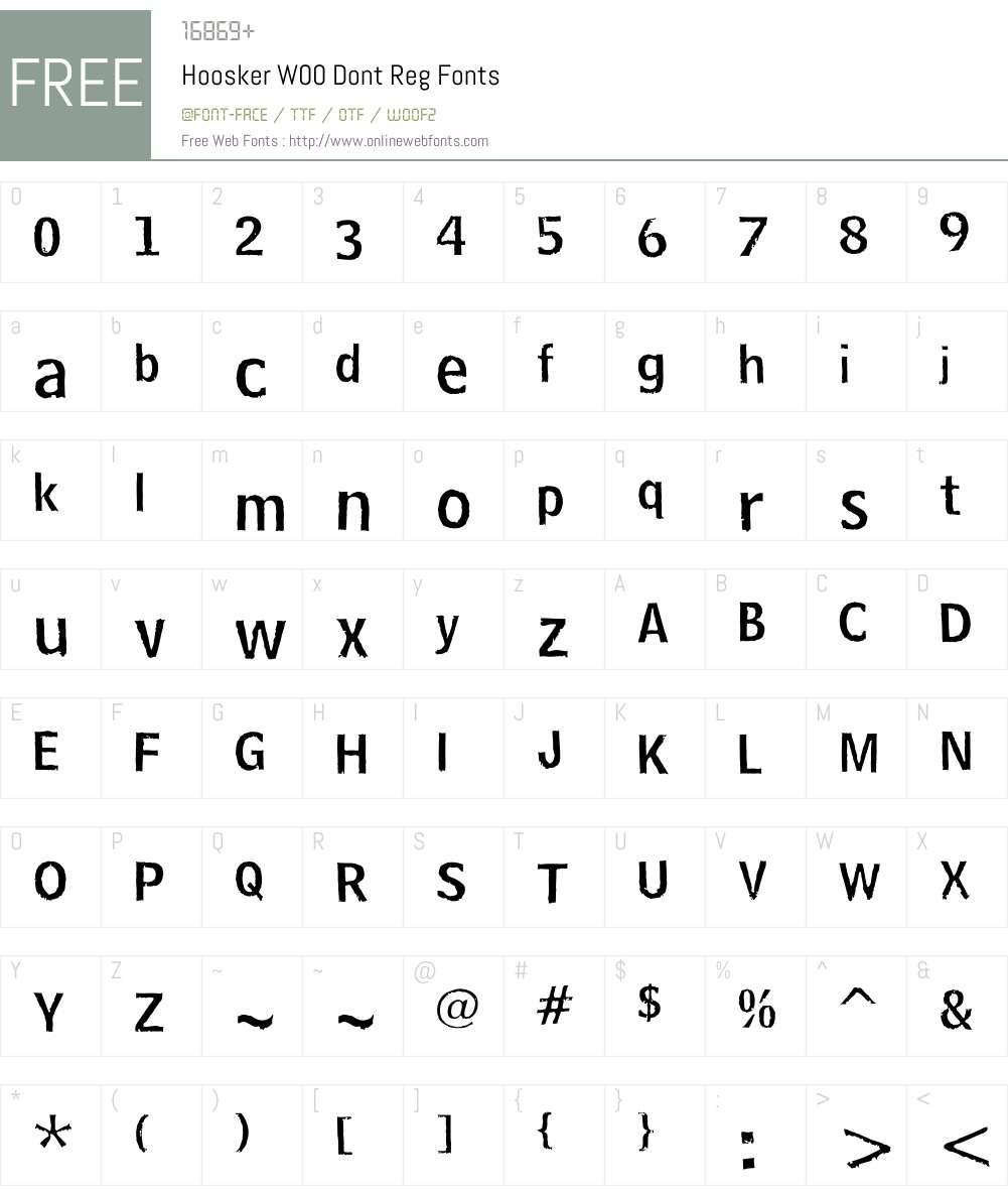 HooskerW00-DontReg Font Screenshots