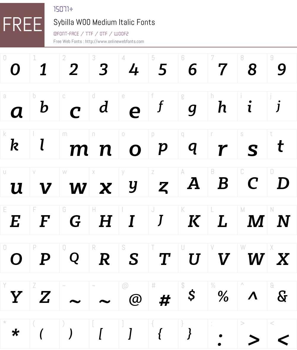 SybillaW00-MediumItalic Font Screenshots
