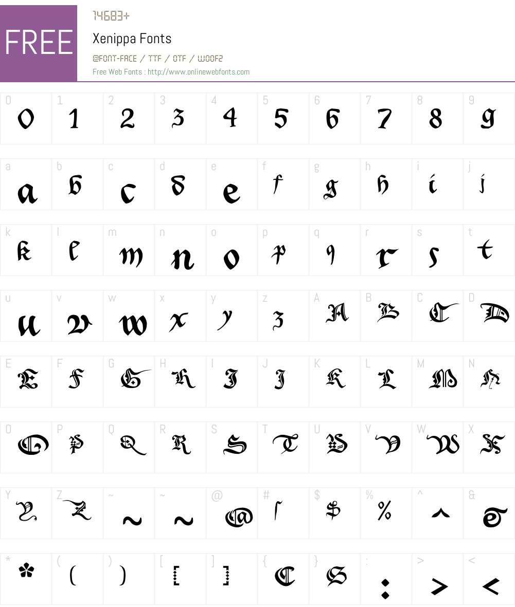 Xenippa Font Screenshots