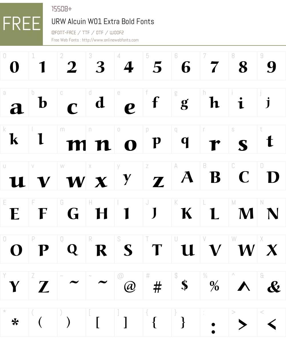 URWAlcuinW01-ExtraBold Font Screenshots