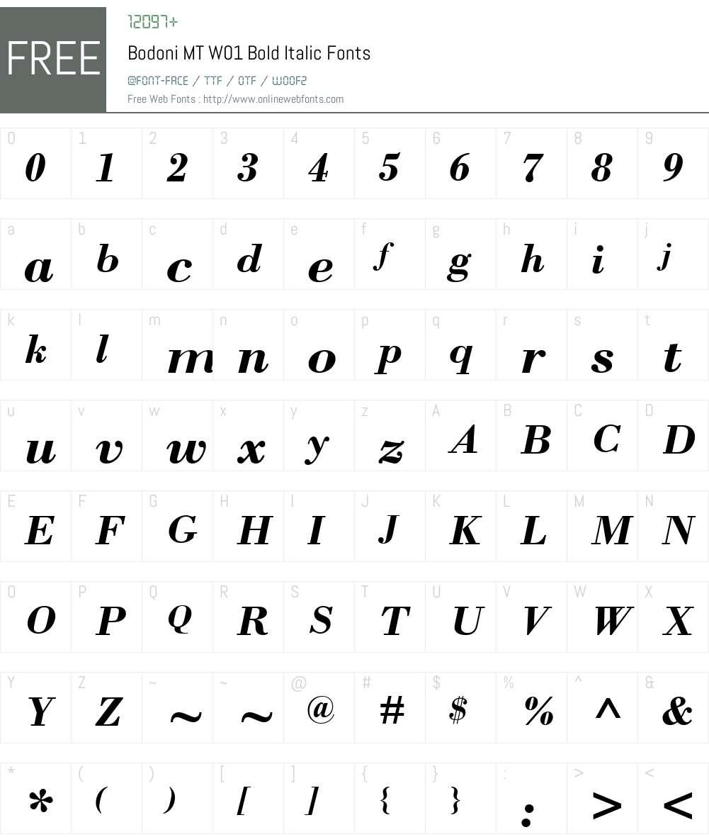 BodoniMTW01-BoldItalic Font Screenshots
