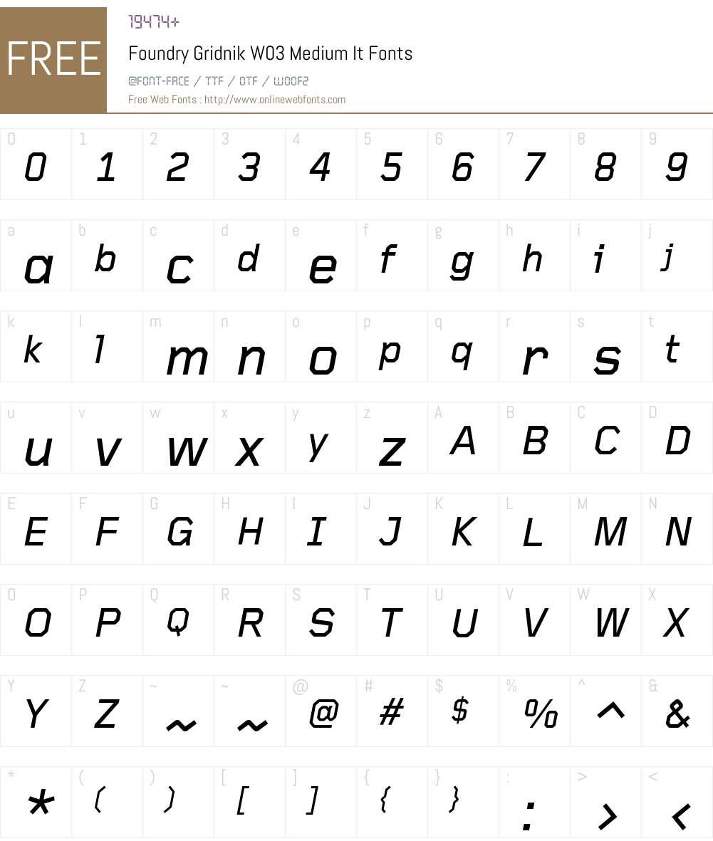 Foundry Gridnik Font Screenshots