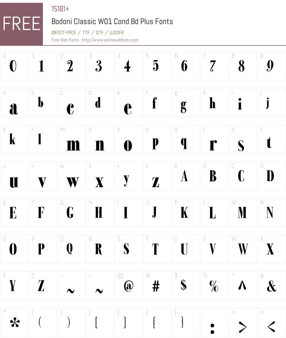BodoniClassicW01-CondBdPlus Font Screenshots