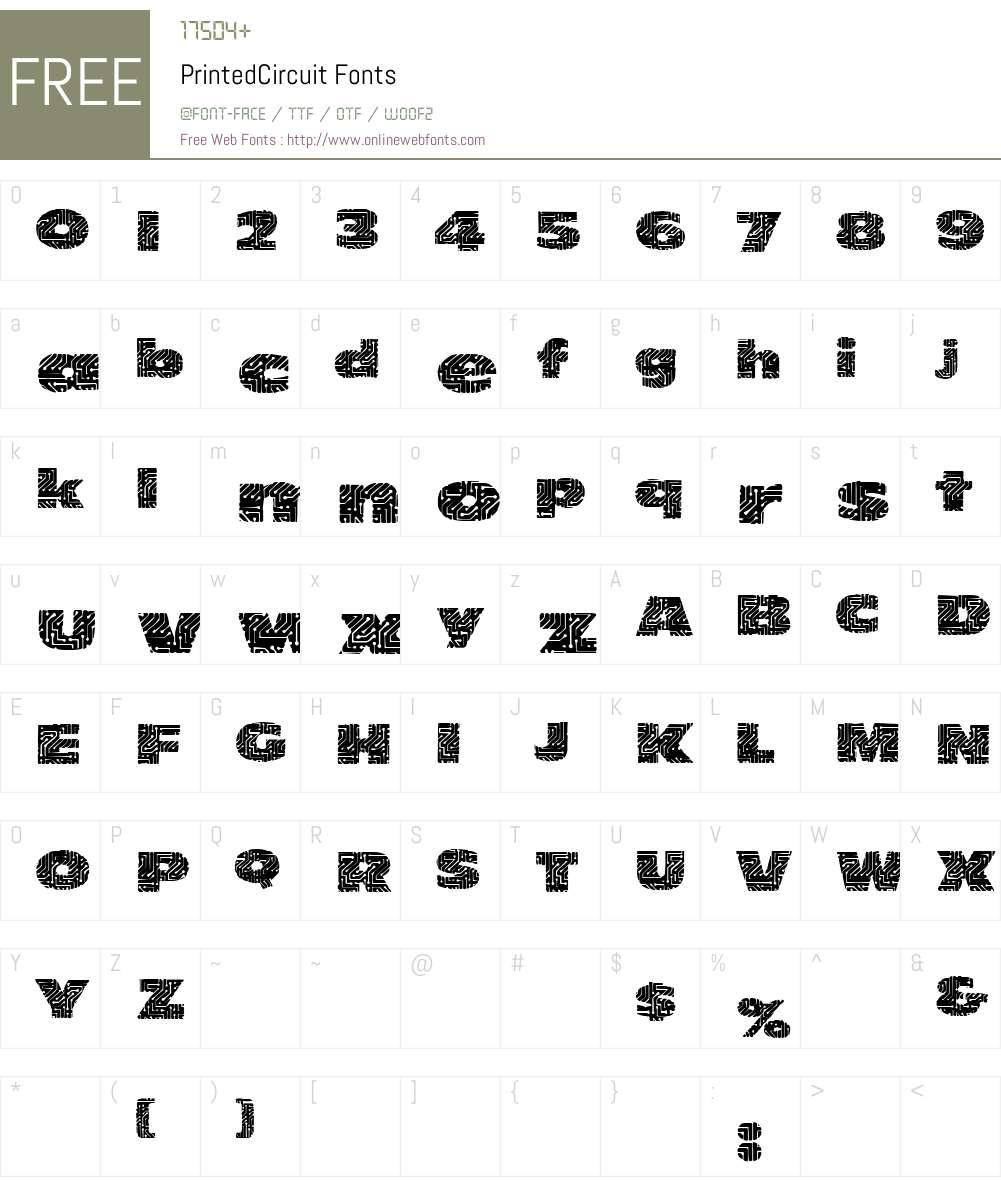 PrintedCircuit Font Screenshots