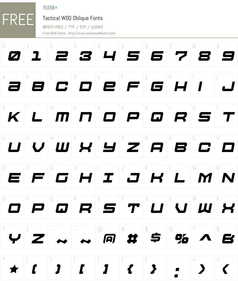 TacticalW00-Oblique Font Screenshots