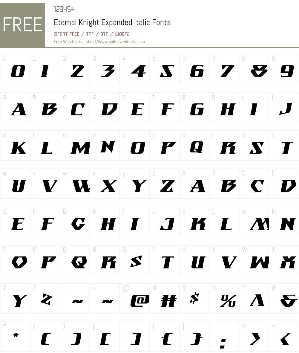 Eternal Knight Expanded Italic Font Screenshots