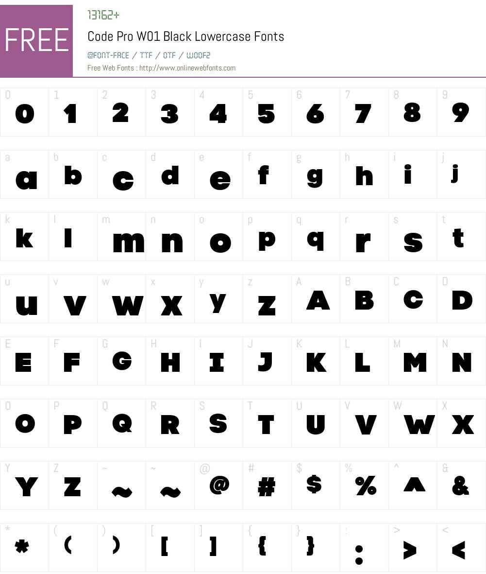 CodeProW01-BlackLowercase Font Screenshots