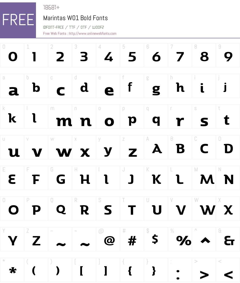MarintasW01-Bold Font Screenshots