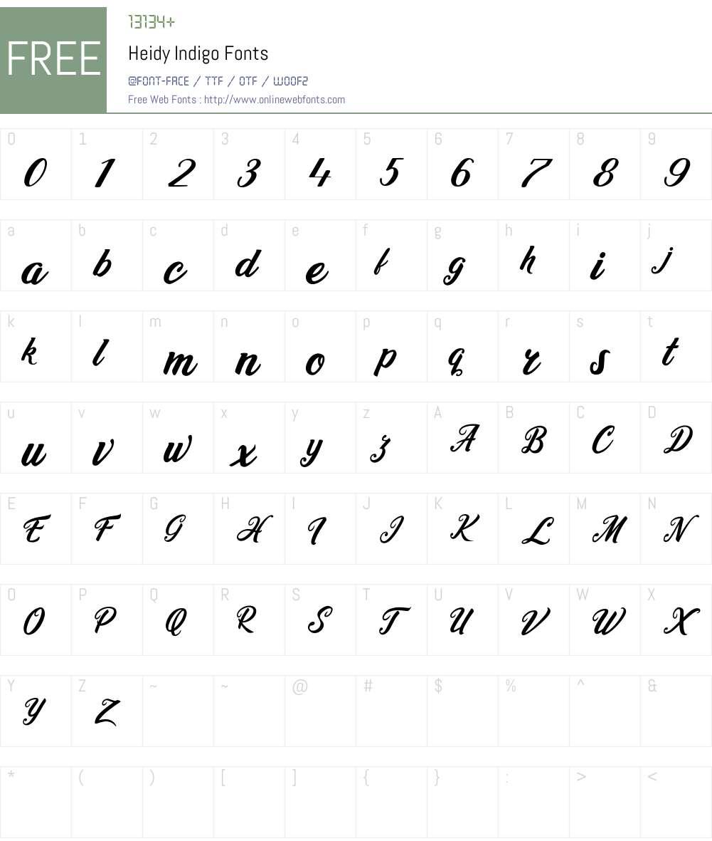 Heidy Indigo Font Screenshots