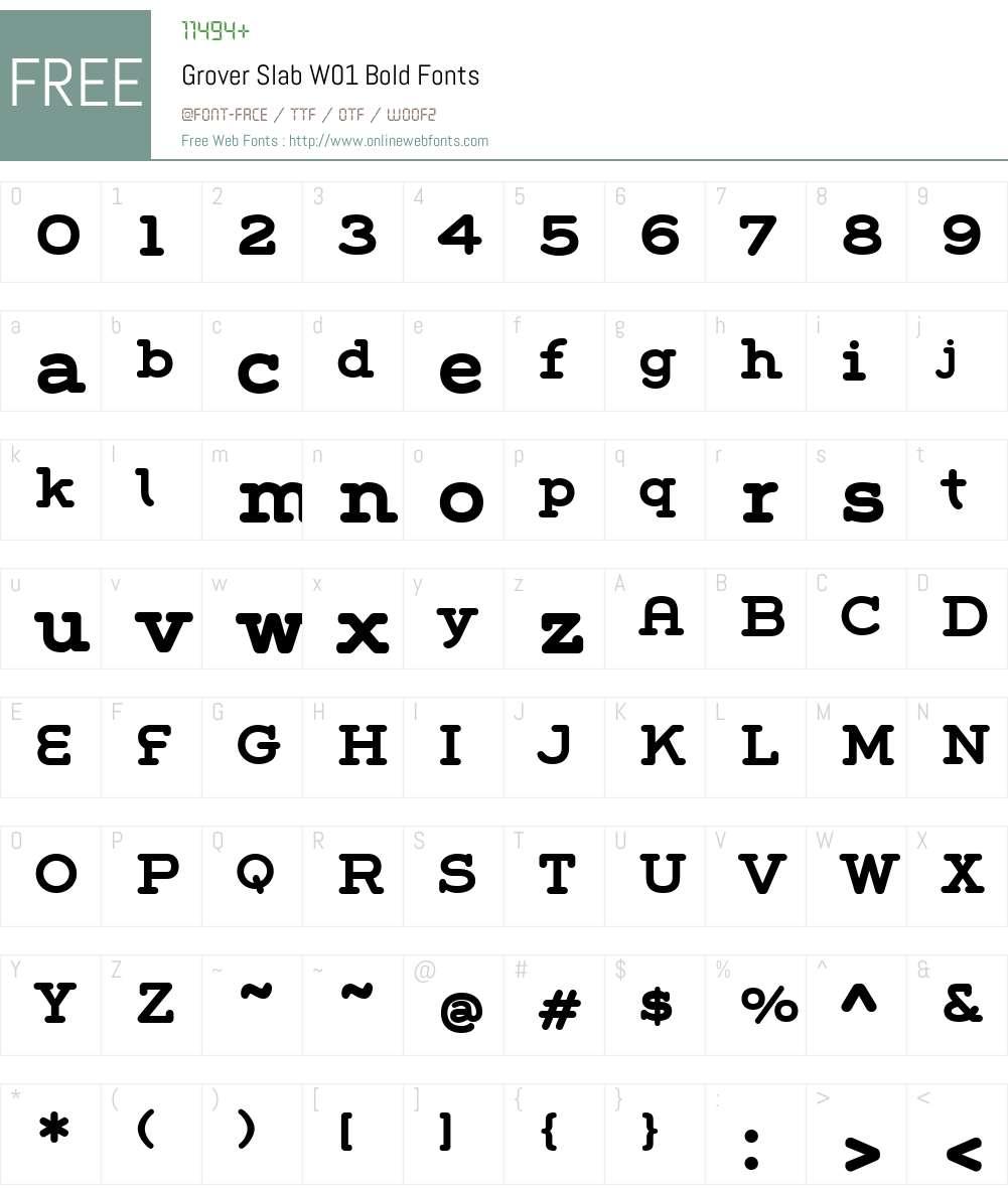 GroverSlabW01-Bold Font Screenshots
