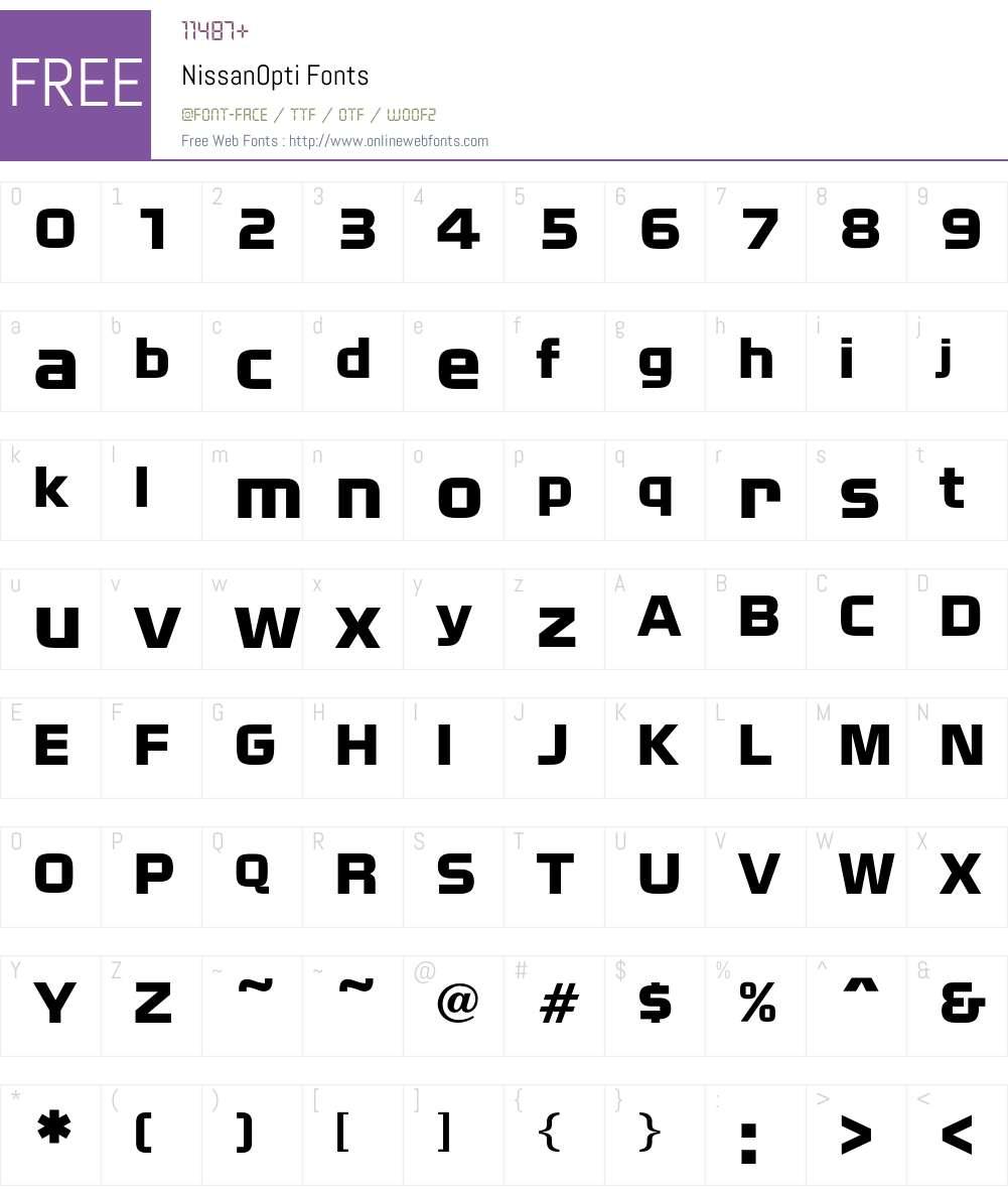 NissanOpti Font Screenshots