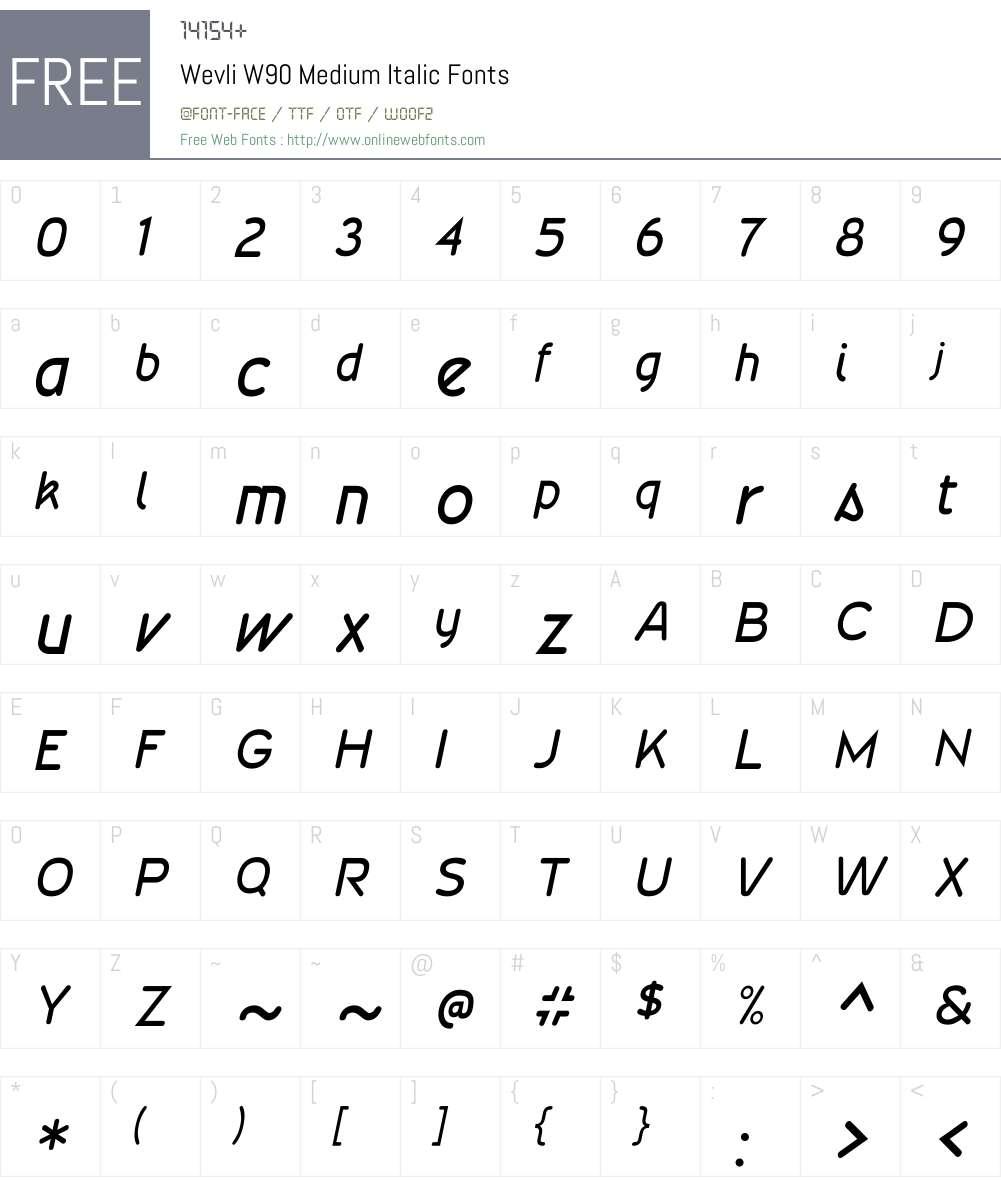 WevliW90-MediumItalic Font Screenshots