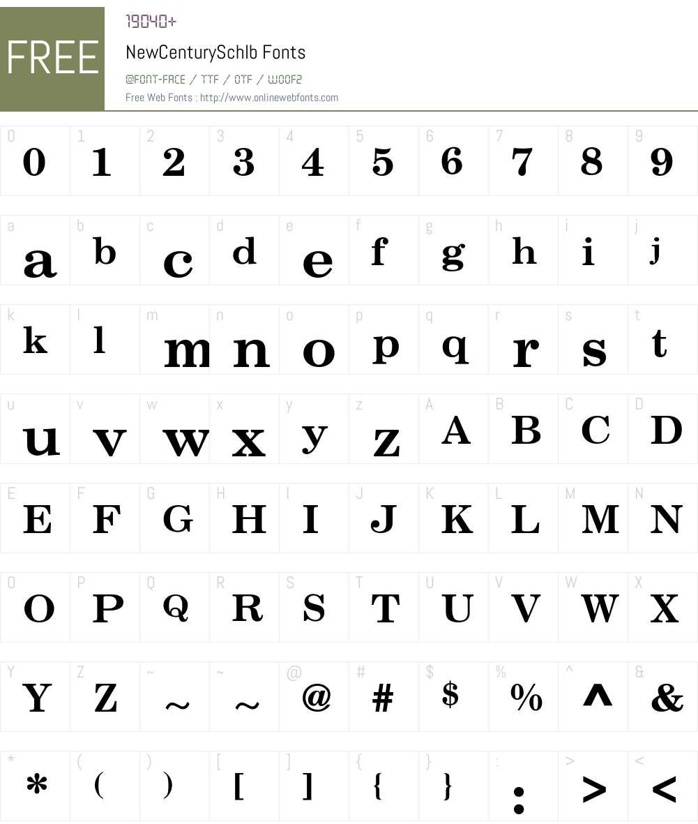 NewCenturySchlb Font Screenshots
