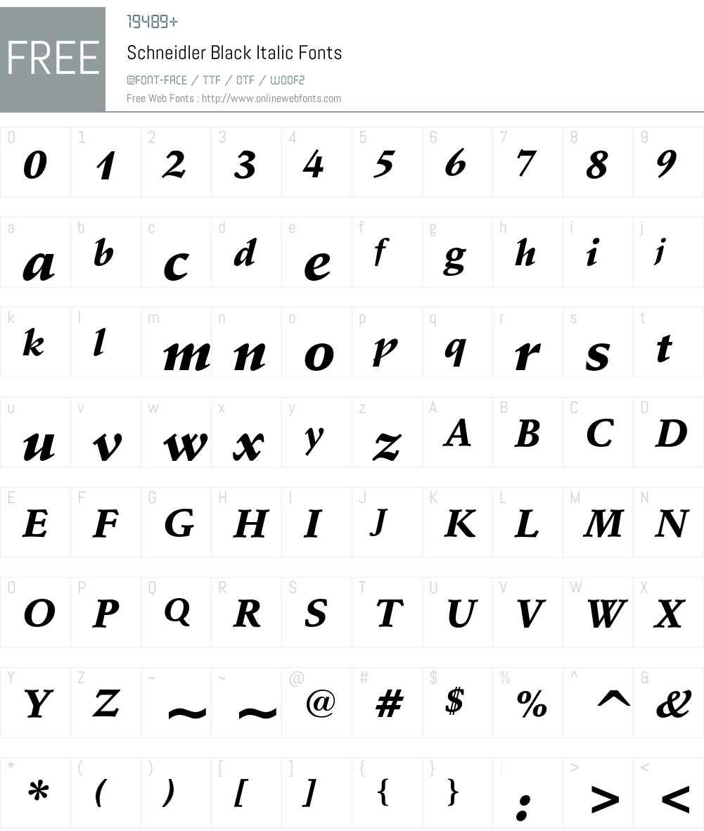 Schneidler Font Screenshots