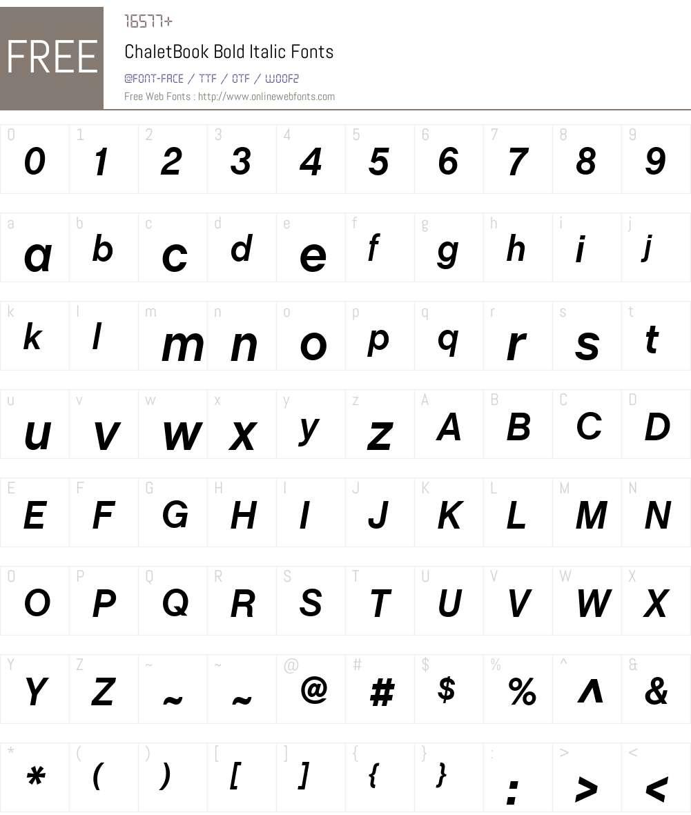 ChaletBook Font Screenshots