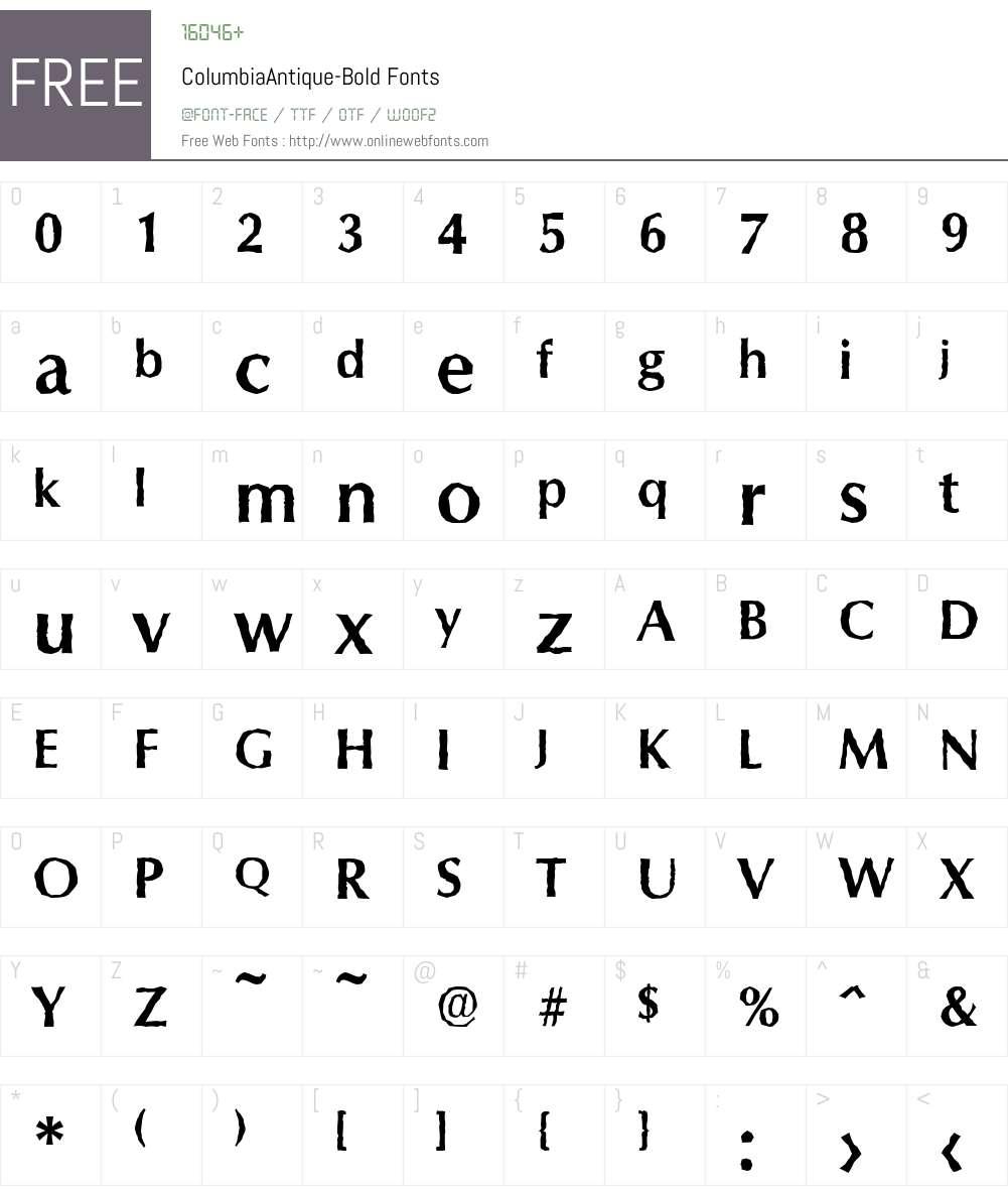 ColumbiaAntique Font Screenshots