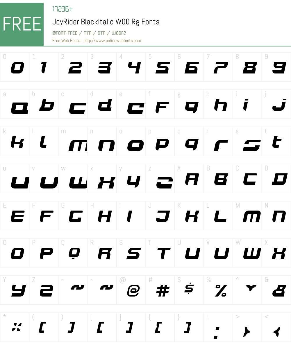 JoyRiderBlackItalicW00-Rg Font Screenshots