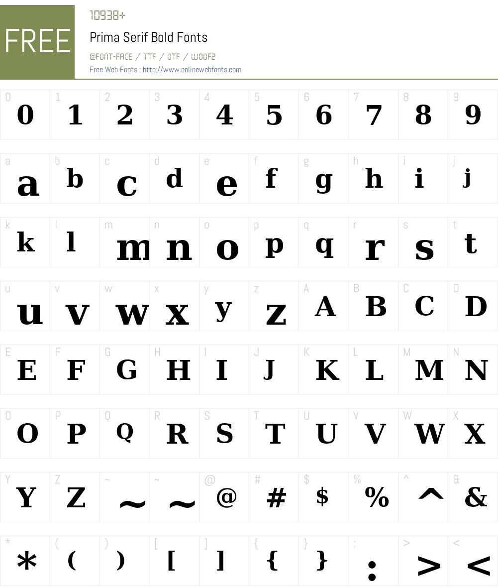 Prima Serif Font Screenshots