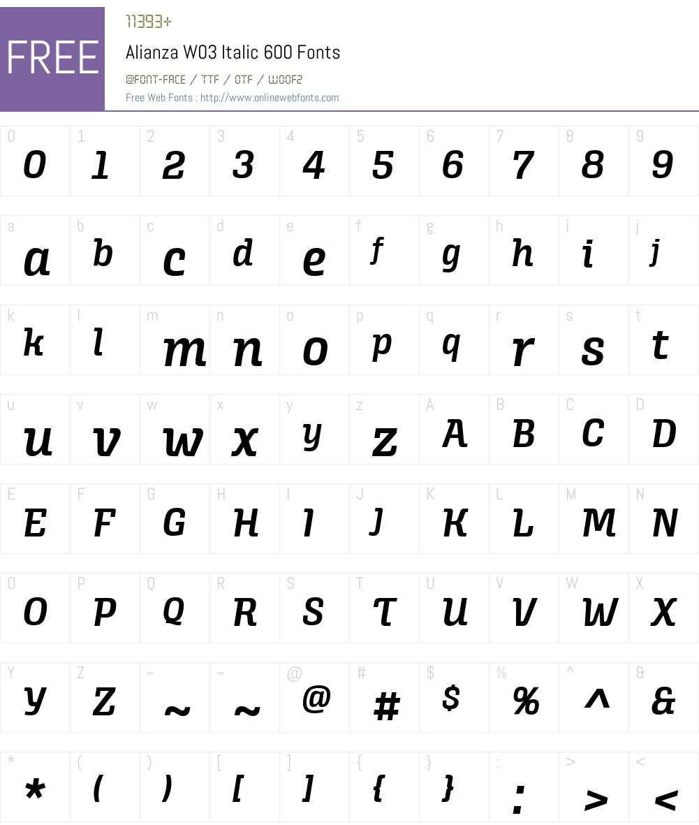 AlianzaW03-Italic600 Font Screenshots