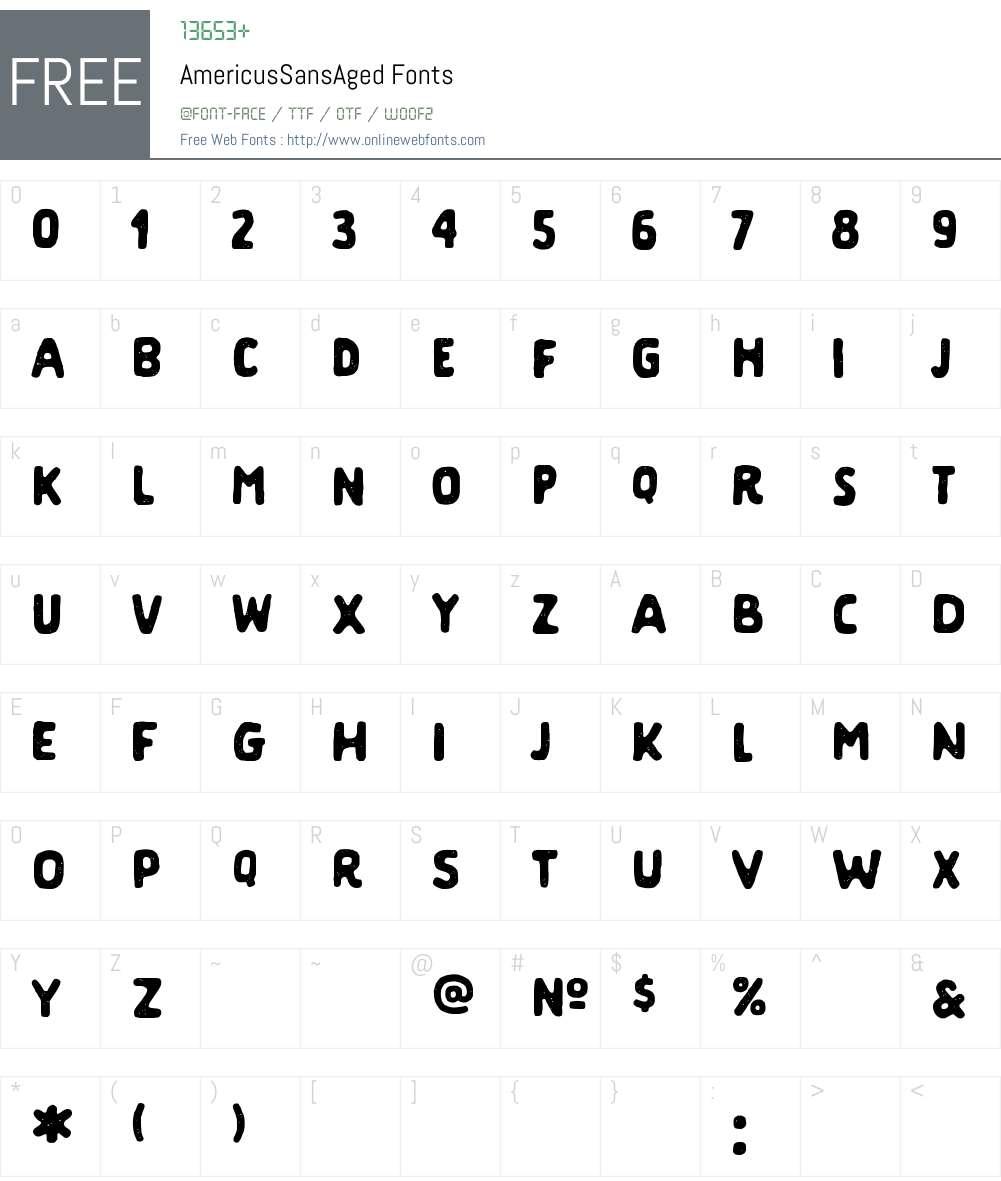 Americus Sans Aged Font Screenshots
