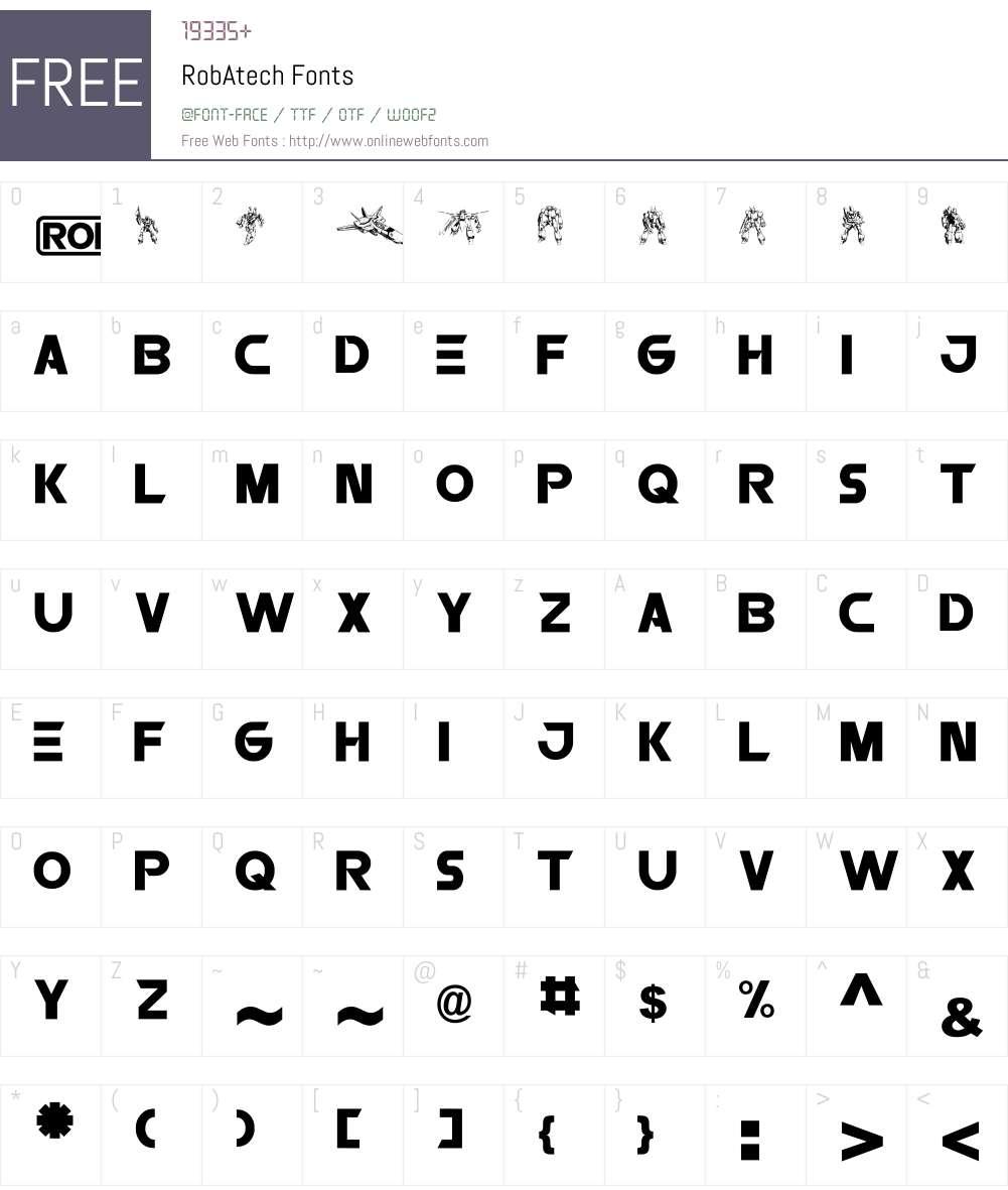 RobAtech Font Screenshots