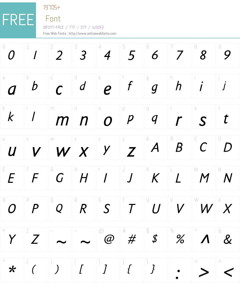 TschicholdCondensedW00-It Font Screenshots