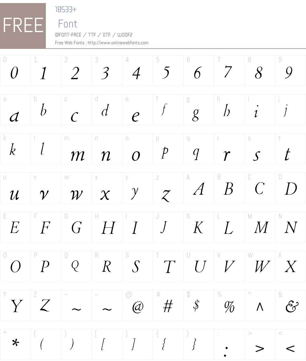 LTCCloisterW01-LightItalic Font Screenshots