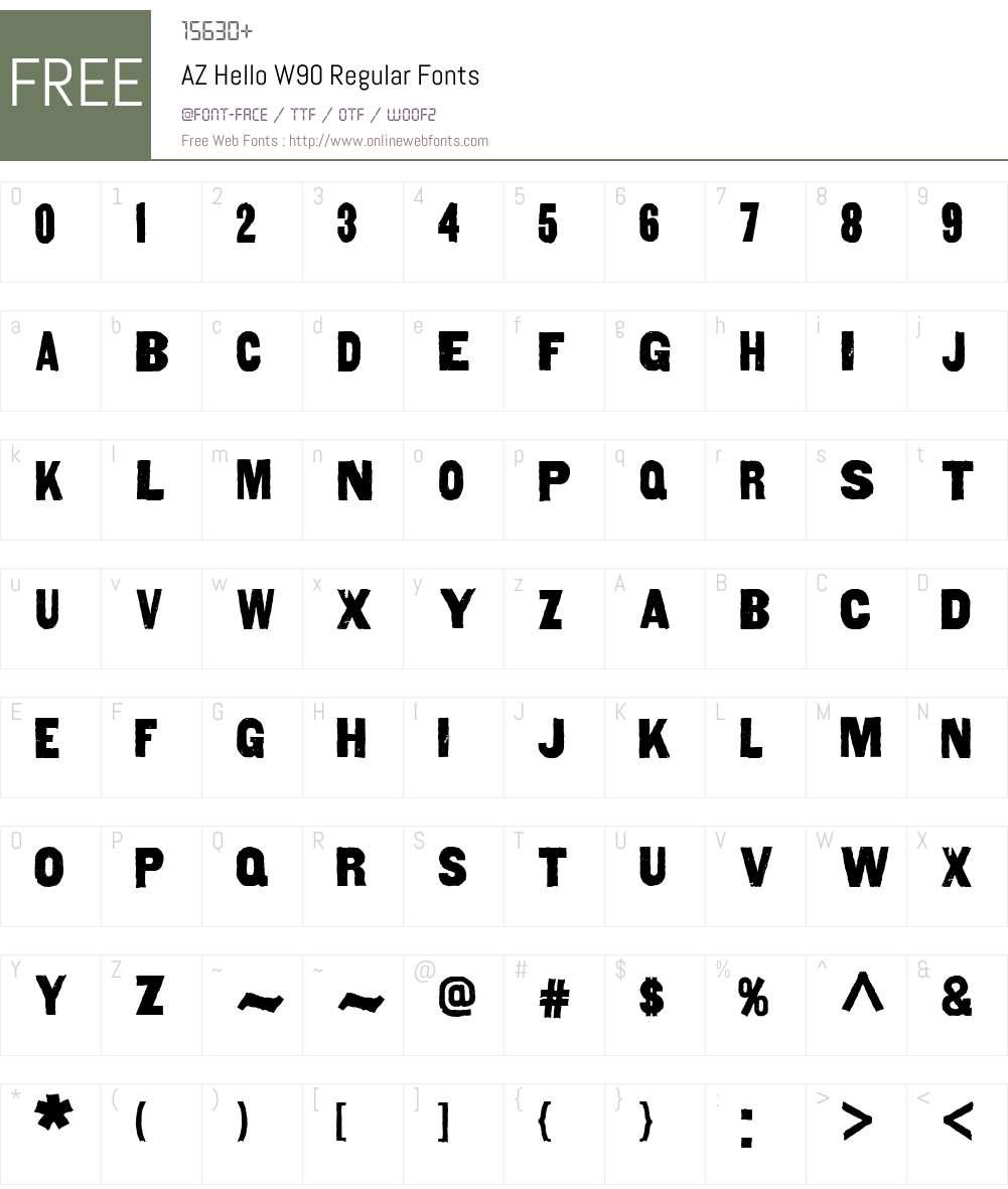 AZHelloW90-Regular Font Screenshots