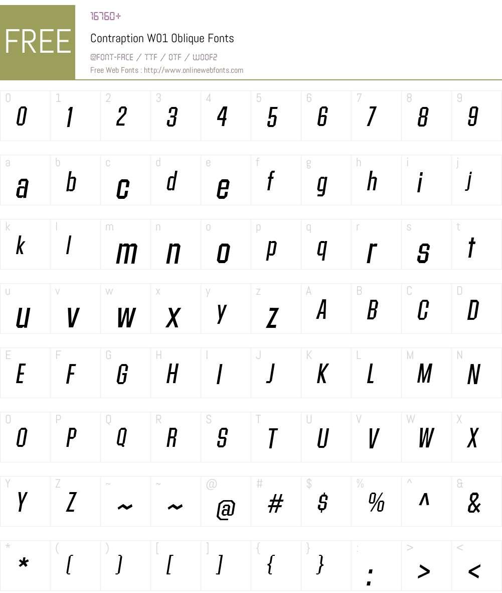 ContraptionW01-Oblique Font Screenshots