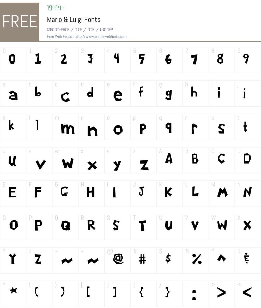 Mario & Luigi Font Screenshots