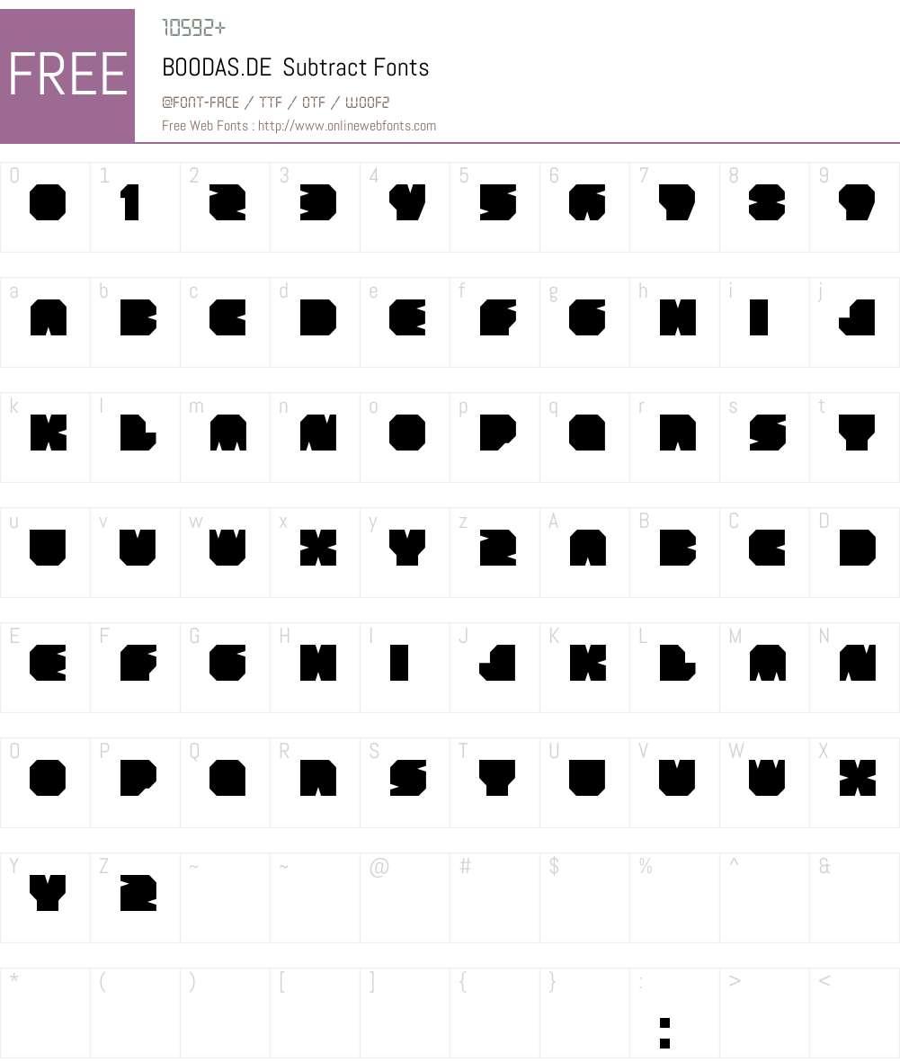 BOODAS.DE  Subtract Font Screenshots
