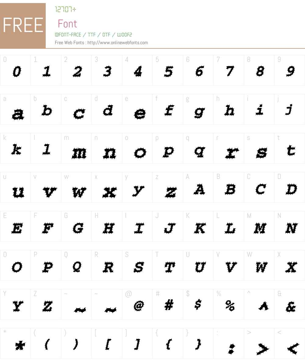 ChiselSpiked Font Screenshots