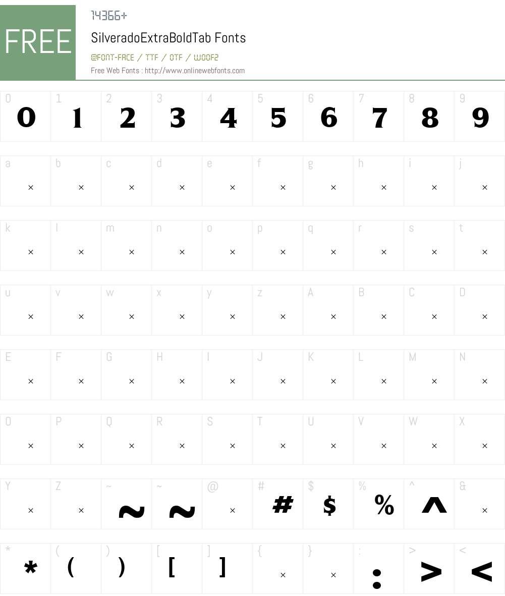 SilveradoExtraBoldTab Font Screenshots