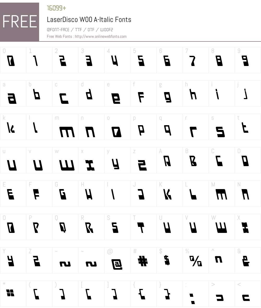 LaserDiscoW00-A-Italic Font Screenshots