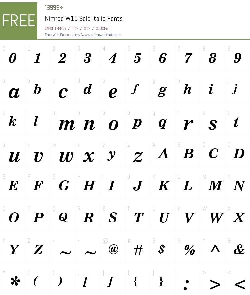NimrodW15-BoldItalic Font Screenshots