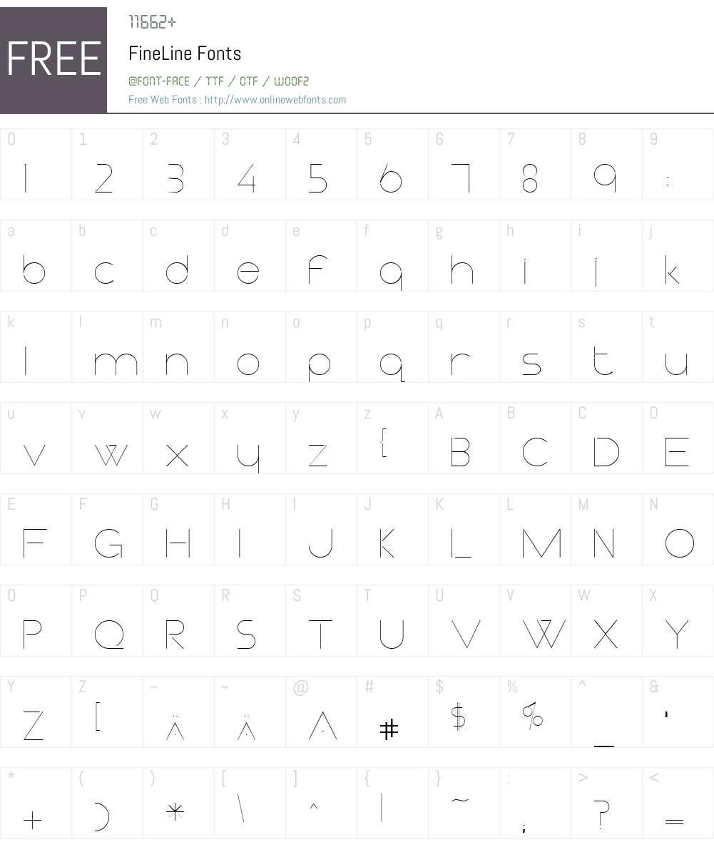 FineLine Font Screenshots