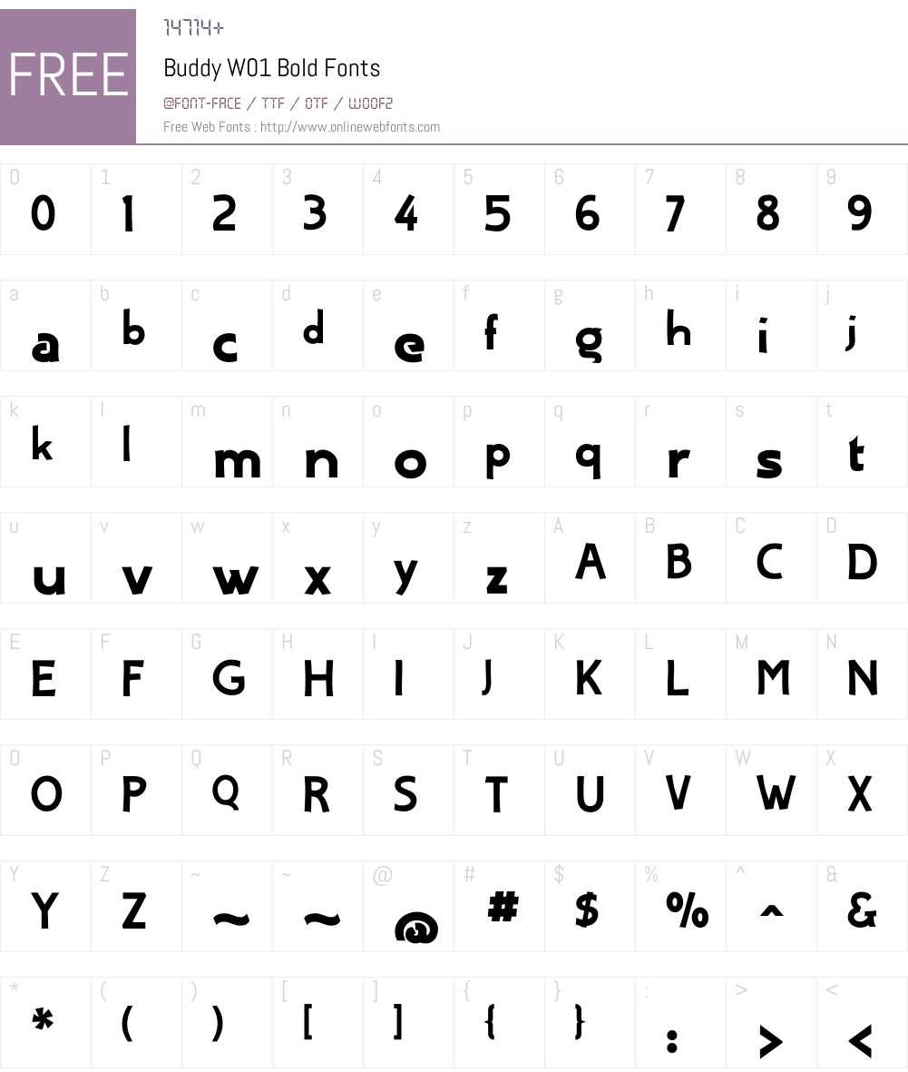 BuddyW01-Bold Font Screenshots