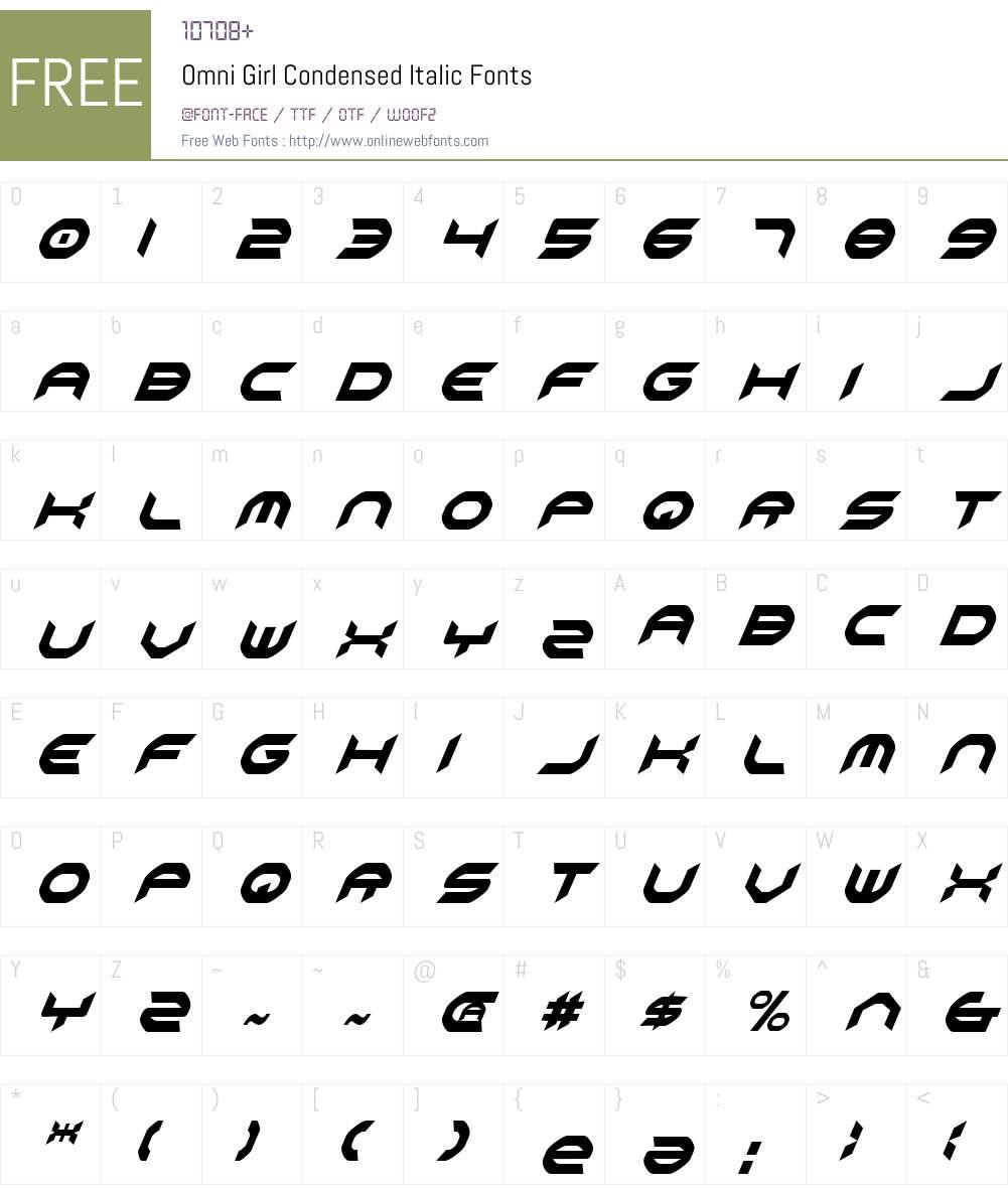 Omni Girl Condensed Italic Font Screenshots