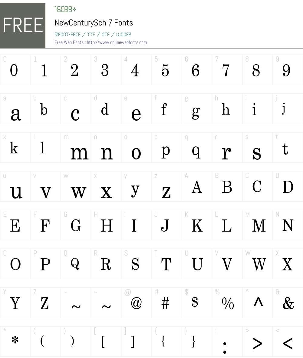 NewCenturySch 7 Font Screenshots