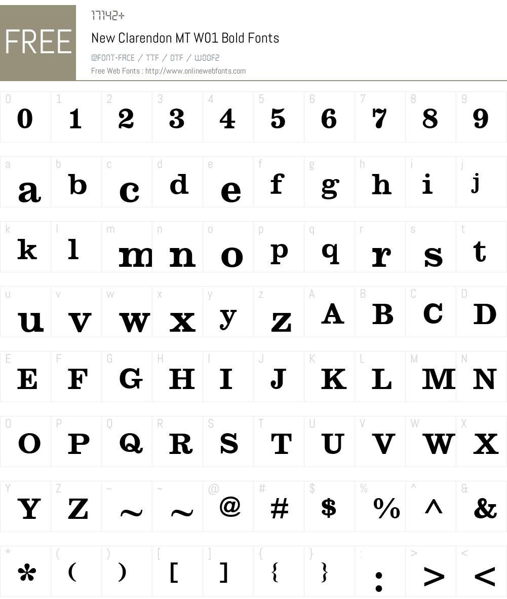 NewClarendonMTW01-Bold Font Screenshots