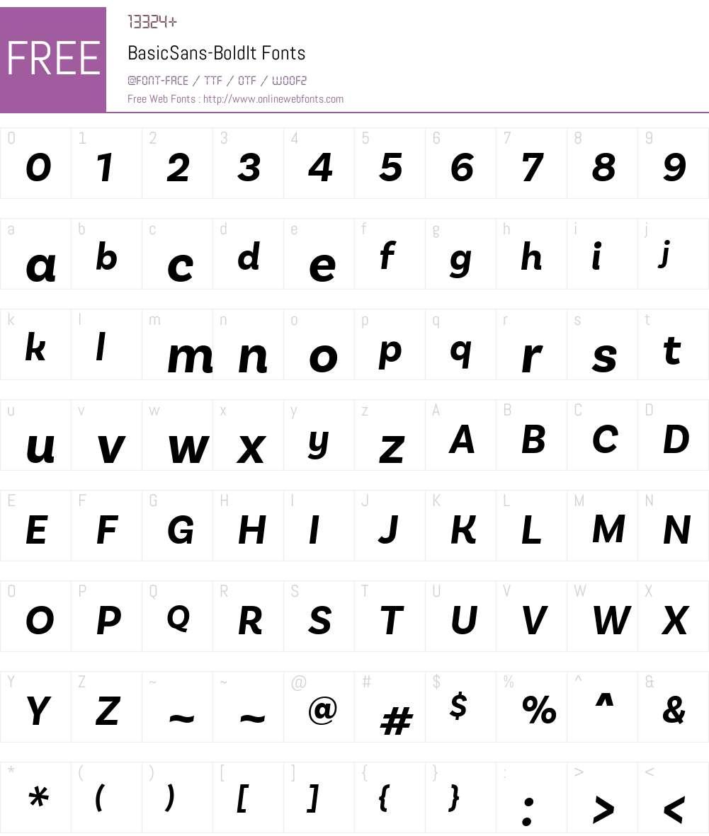 BasicSans-BoldIt Font Screenshots