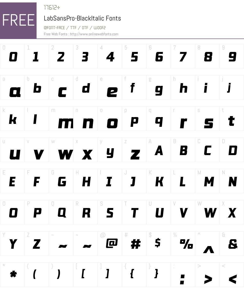 Lab Sans Pro Black Italic Font Screenshots