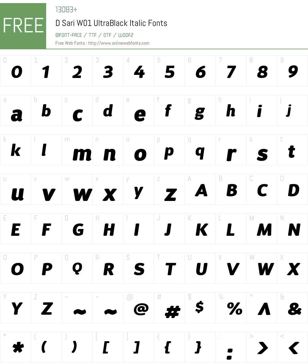 DSariW01-UltraBlackItalic Font Screenshots