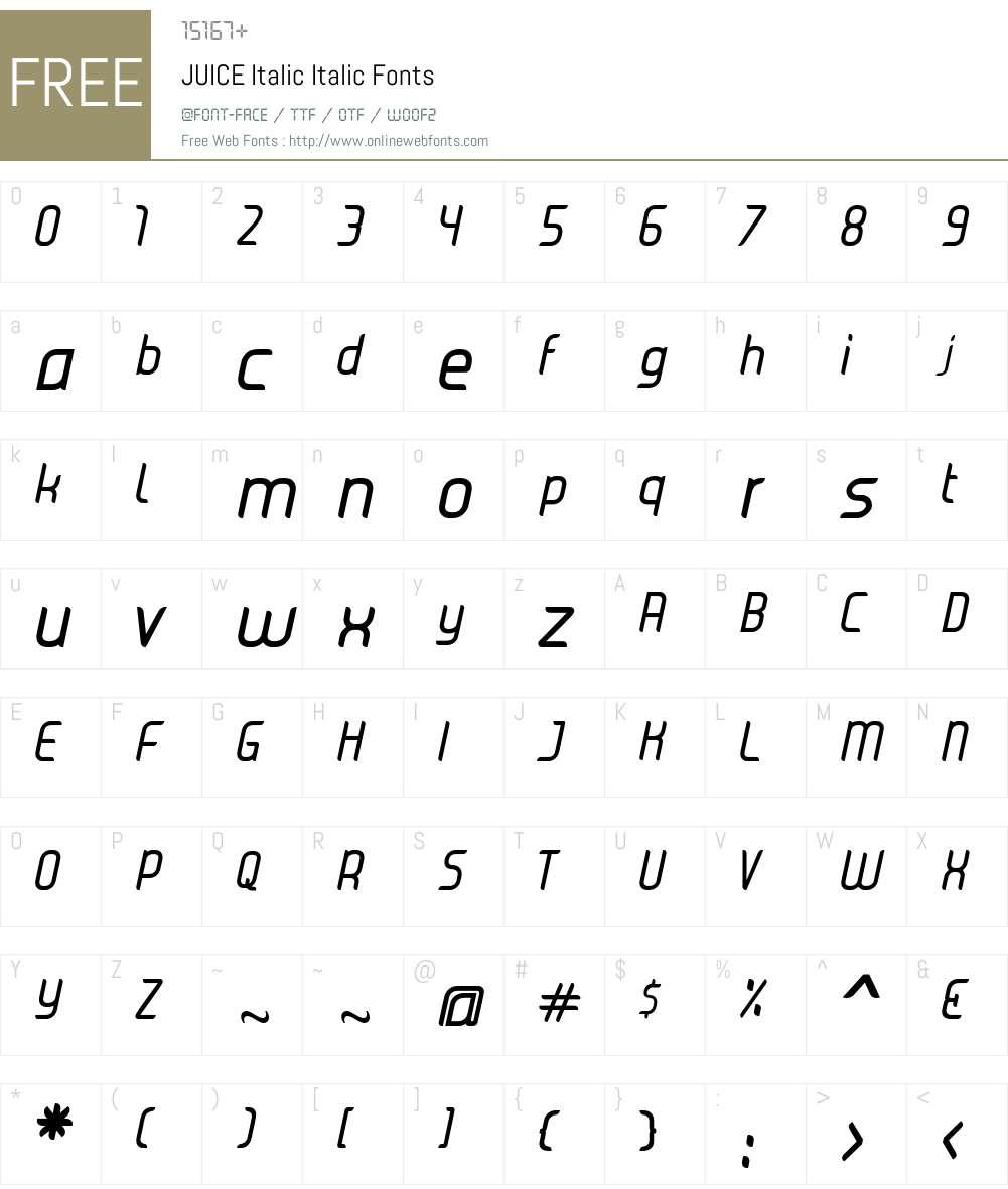 JUICE Italic Font Screenshots