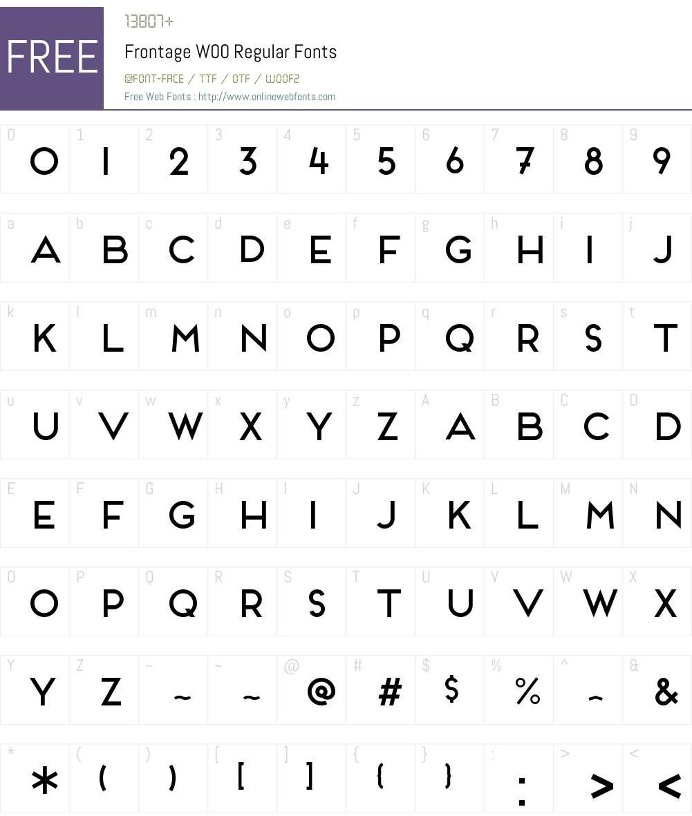 FrontageW00-Regular Font Screenshots