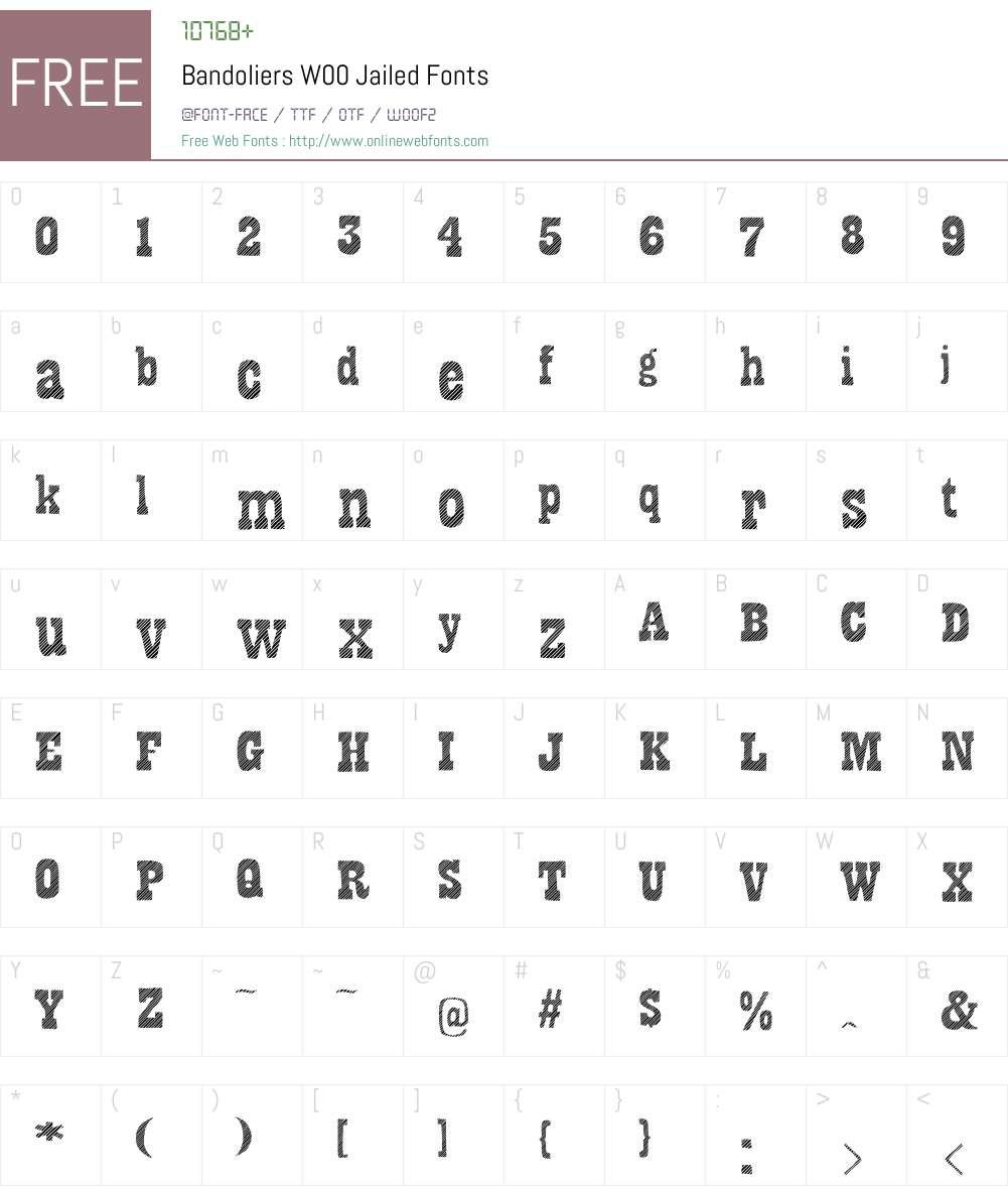 BandoliersW00-Jailed Font Screenshots