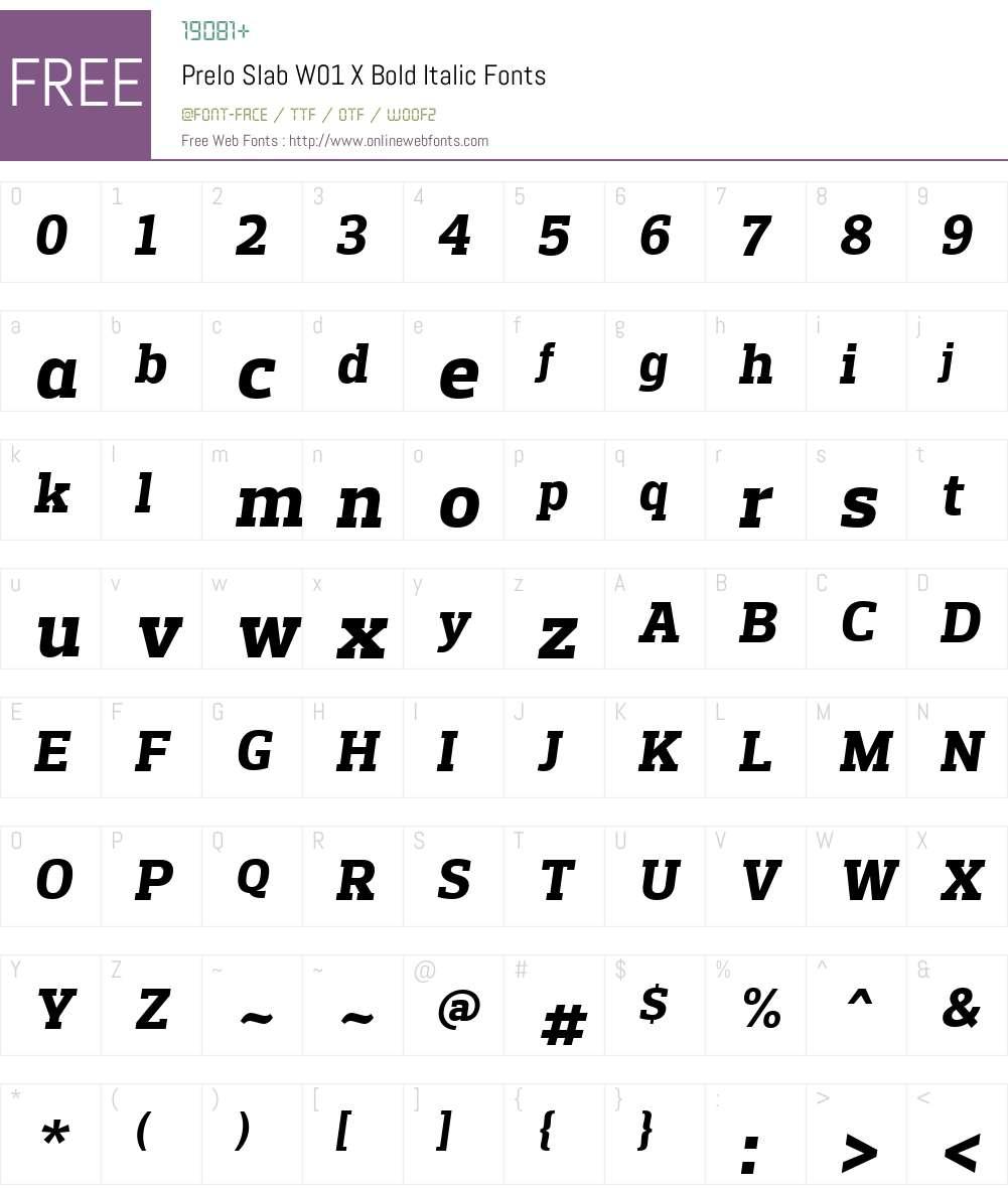 PreloSlabW01-XBoldItalic Font Screenshots