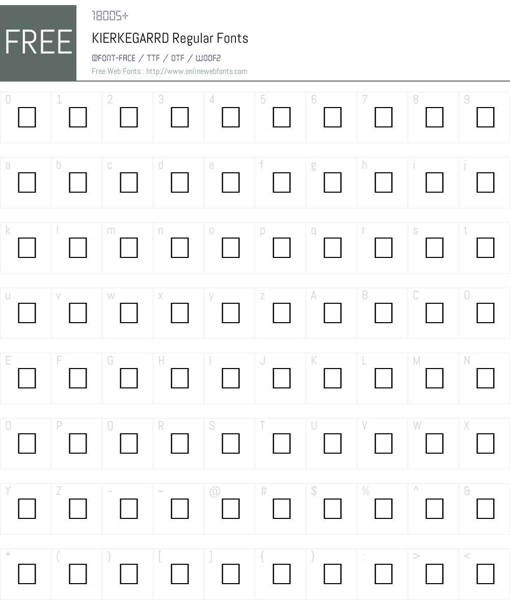 KIERKEGARRD Font Screenshots