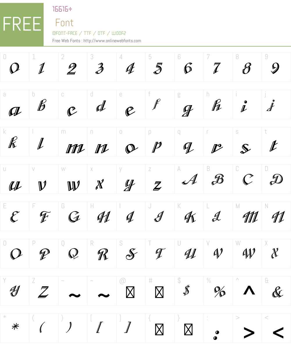 Cabarga Cursiva Std Font Screenshots